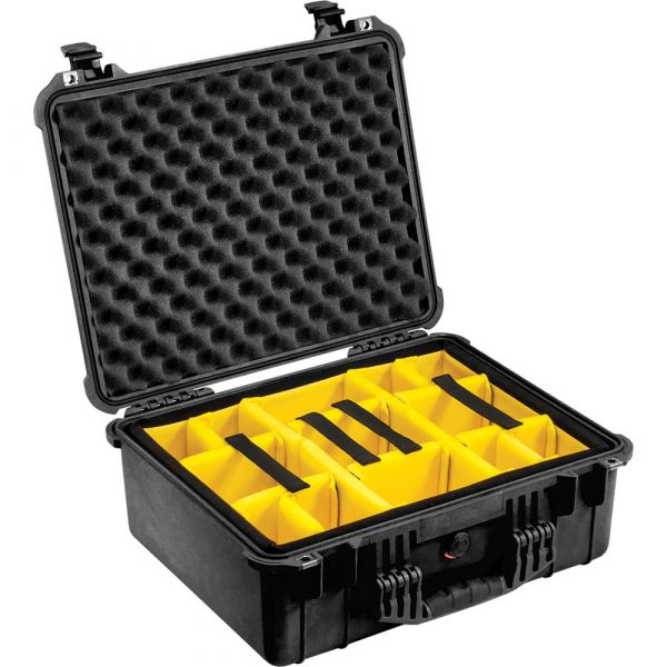 Pelican 1554 Waterproof 1550 Case with Yellow and Black Divider Set (Black) 1554BD Pelican 384.000000