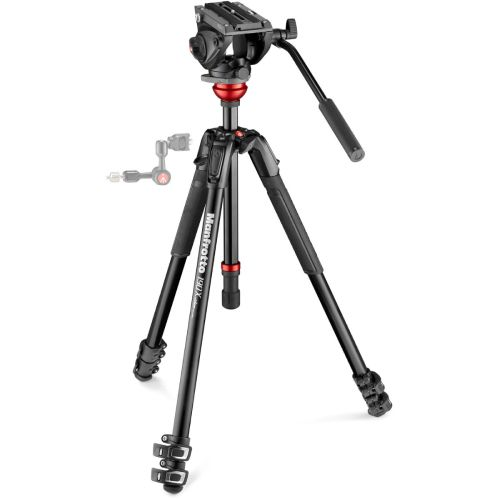 Manfrotto 500 Fluid Video Head with 190X Video Aluminum Tripod & Leveling Column Kit MVK500190XV Manfrotto 529.150000